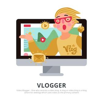 Osoba vlogera z płaskimi symbolami bloga z poradami dotyczącymi podróży