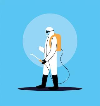 Osoba w garniturze do dezynfekcji pracy przez covid-19