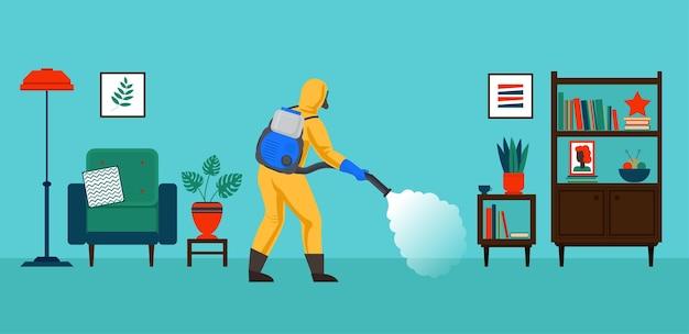 Osoba w kombinezonie chroniącym przed chemikaliami zajmuje się zwalczaniem szkodników w pomieszczeniu