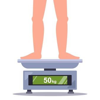 Osoba waży własną wagę na płaskiej ilustracji wektorowych na wadze łazienkowej