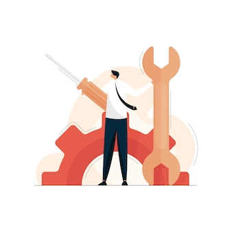 Osoba wsparcia technicznego z kluczem i śrubokrętem, serwis naprawczy, konserwacja