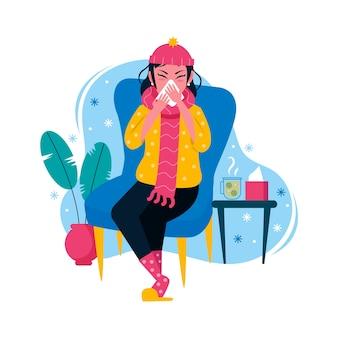 Osoba z przeziębieniem i katarem
