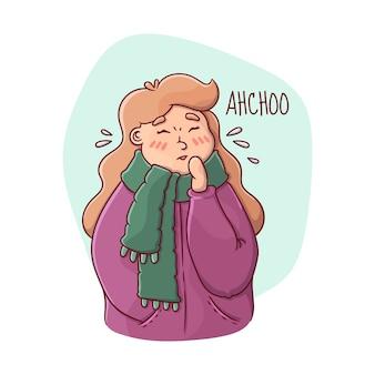 Osoba z zimną ilustracją