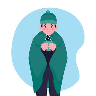 Osoba z zimnym ilustracyjnym pojęciem