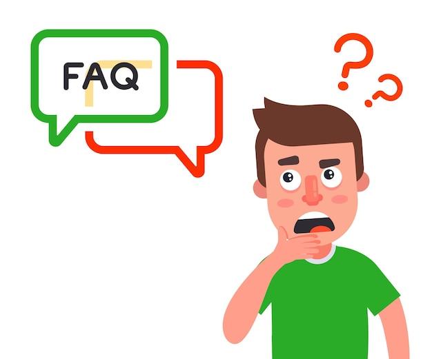Osoba zadaje pytanie i czeka na odpowiedź na stronie. często zadawane pytania. ilustracja wektorowa płaskie.