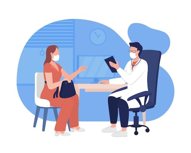 Osobisty lekarz mianowania 2d wektor ilustracja na białym tle. odwiedź profesjonalny ośrodek zdrowia płaskie postacie na tle kreskówek. uzyskiwanie planu leczenia objawów, warunki kolorowe sceny