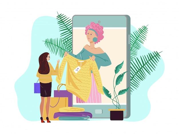 Osobisty stylista mody online, ilustracja. konsultant mody w dużym smartfonie, postać kobiety