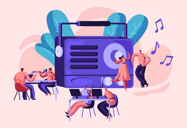 Osobowość radiowa ilustracja koncepcja na antenie