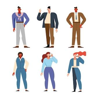 Osoby biznesowe grupują postacie stojące