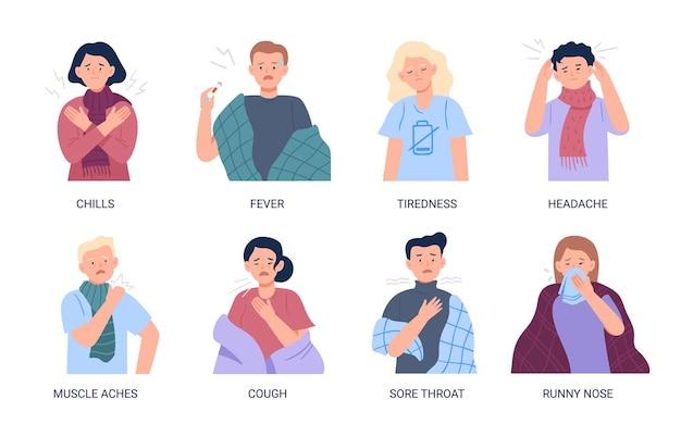 Osoby Cierpiące Na Objawy Przeziębienia I Grypy Premium Wektorów