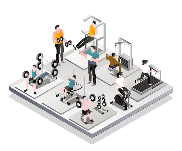 Osoby ćwiczące na siłowni z instruktorem
