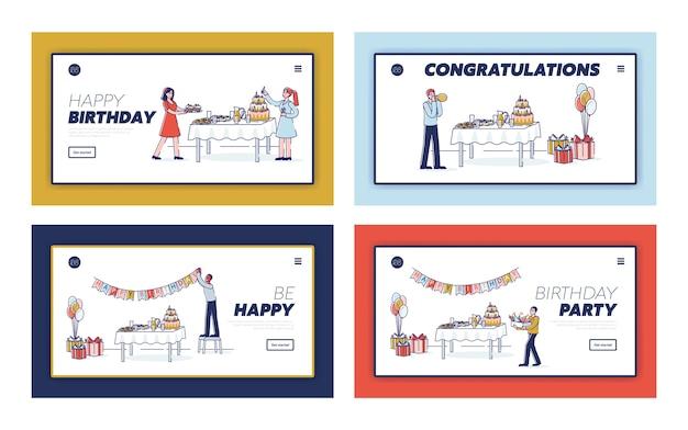 Osoby dekorujące pokój na przyjęcie urodzinowe: zestaw szablonów stron docelowych.