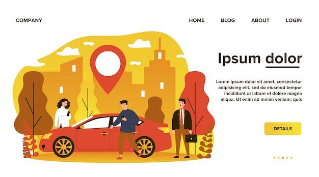 Osoby dojeżdżające do pracy korzystające z samochodu w mieście. osoby szukające pojazdu ze wskaźnikiem lokalizacji. ilustracja do wynajęcia transportu, transferu, samochodu, koncepcji podróży
