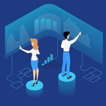 Osoby dokonujące analizy biznesowej. idea pracy zespołowej i przywództwa. pracownicy patrząc na wykres i przeprowadzają badania. planowanie biznesu. ilustracja izometryczna