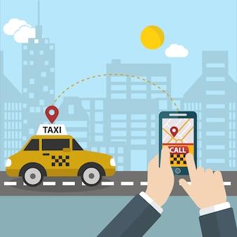 Osoby dzwoniącej tło taxi