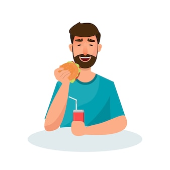 Osoby jedzące niezdrowe jedzenie i fast foody o różnym charakterze. ilustracja w stylu cartoon płaski