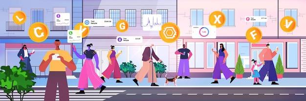 Osoby korzystające z aplikacji do wydobywania kryptowalut na gadżetach aplikacja do wirtualnego transferu pieniędzy transakcja bankowa waluta cyfrowa