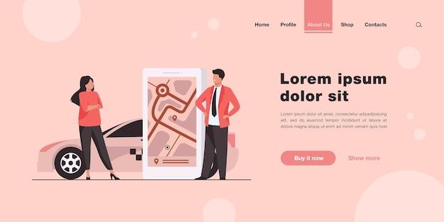 Osoby korzystające z aplikacji lokalizacyjnej i zamawiające stronę docelową taksówki w płaskim stylu