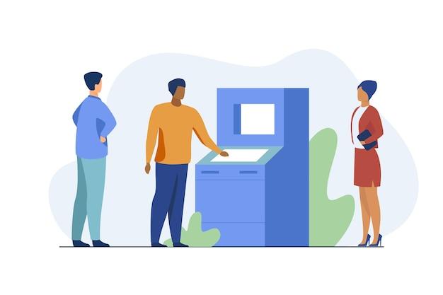 Osoby korzystające z bankomatu. klienci banku czekają w kolejce, ilustracja wektorowa płaski dystans społeczny. bankowość, transakcja, wypłata gotówki