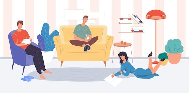 Osoby korzystające z cyfrowych gadżetów relaksują się w domu. nastolatek-student-przyjaciel surfuje po internecie i odrabia lekcje online przez telefon komórkowy, tablet. technologia bezprzewodowa, nauka rozrywki