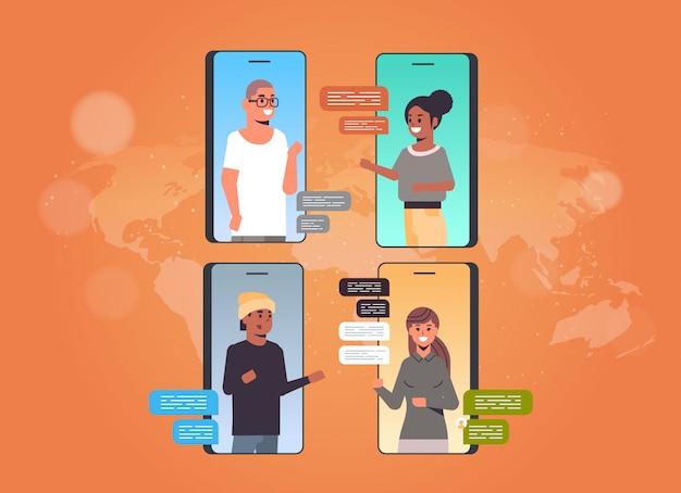 Osoby korzystające z czatu aplikacji sieci społecznościowej czat bańka komunikacja koncepcja