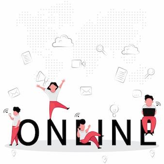 Osoby korzystające z funkcji biznesowych online są szczęśliwe podczas korzystania z komputera i grania