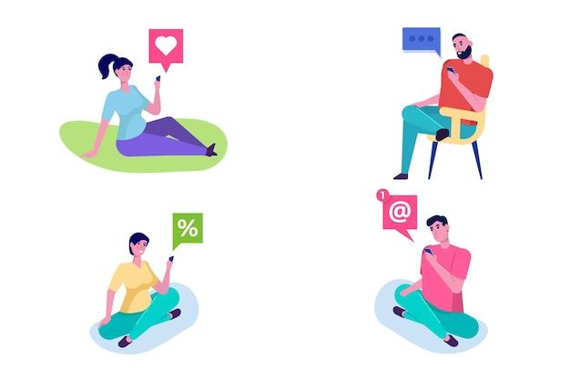 Osoby korzystające z ilustracji smartfonów