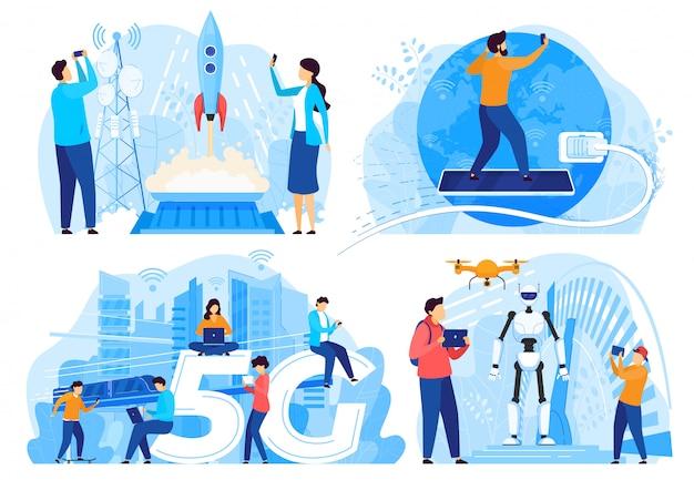 Osoby korzystające z internetu 5g, innowacyjne technologie, ilustracja