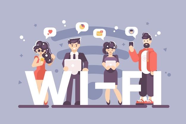 Osoby korzystające z internetu na plakacie nowoczesnych gadżetów