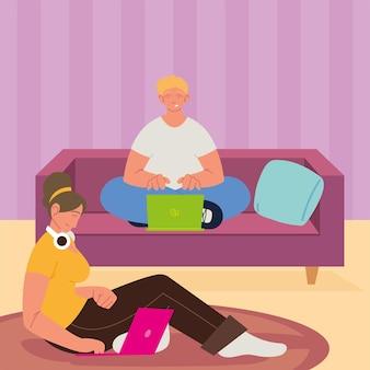 Osoby korzystające z laptopa pracującego w domu