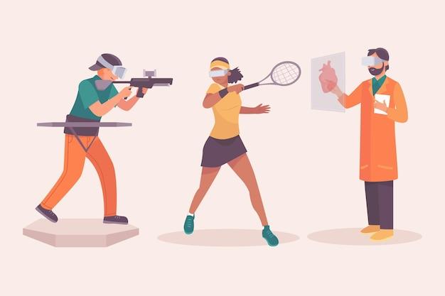 Osoby korzystające z okularów wirtualnej rzeczywistości