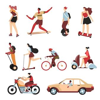 Osoby korzystające z różnych środków transportu w mieście, odizolowane postacie na hoverboardzie i hulajnodze żyroskopowej