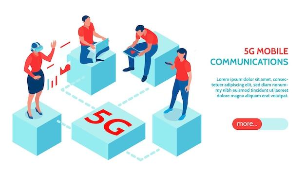 Osoby korzystające z szybkiego mobilnego internetu 5g ilustracji