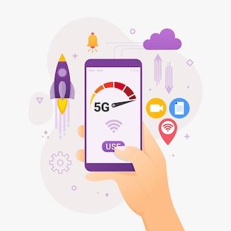 Osoby korzystające z szybkiego połączenia bezprzewodowego za pośrednictwem smartfona
