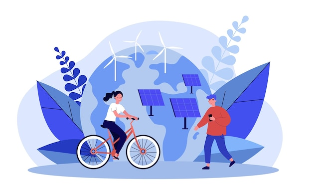 Osoby korzystające z technologii ekologicznej. dziewczyna na rowerze, mężczyzna stojący w pobliżu paneli słonecznych i turbin wiatrowych płaski wektor ilustracja. koncepcja technologii odnawialnej dla banera, projektu strony internetowej lub strony docelowej