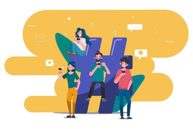 Osoby korzystające z telefonu komórkowego w mediach społecznościowych ludzie społeczności online.