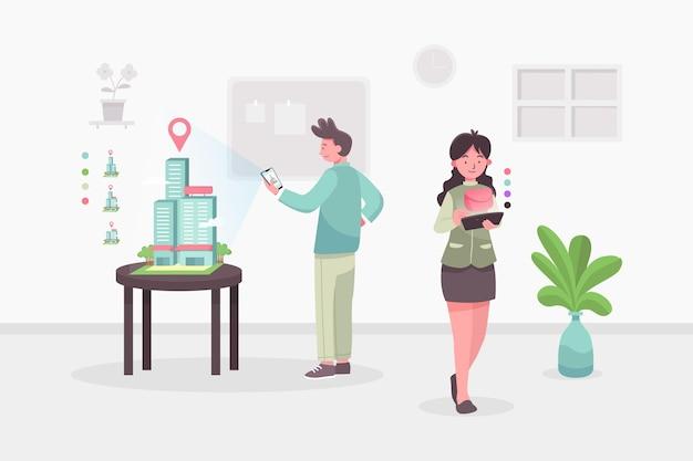 Osoby Korzystające Z Udokumentowanej Rzeczywistości Na Smartfonach Darmowych Wektorów
