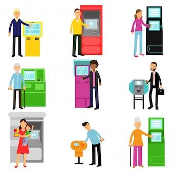 Osoby korzystające z zestawu terminali atm, mężczyzna i kobieta robiąca wpłaty lub wypłaty gotówki z bankomatu ilustracje