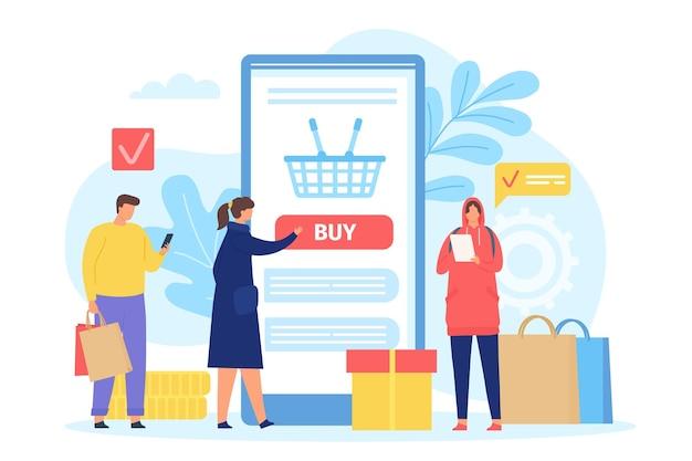 Osoby kupujące w sklepie internetowym. ekran smartfona z koszykiem na zakupy. plakat z mężczyznami i kobietami z torbami. koncepcja wektor aplikacji sklepu mobilnego. zamawianie znaków za pomocą telefonu komórkowego w aplikacji