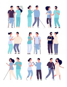 Osoby niepełnosprawne i asystenci. osoby na wózkach inwalidzkich, mężczyźni o kulach i protezach z postaciami niepełnosprawnymi pielęgniarek