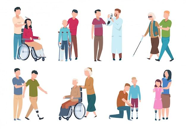 Osoby niepełnosprawne i przyjaciele. wyłącz osoby na wózkach inwalidzkich z asystentami. szczęśliwe niepełnosprawne, niepełnosprawne postacie