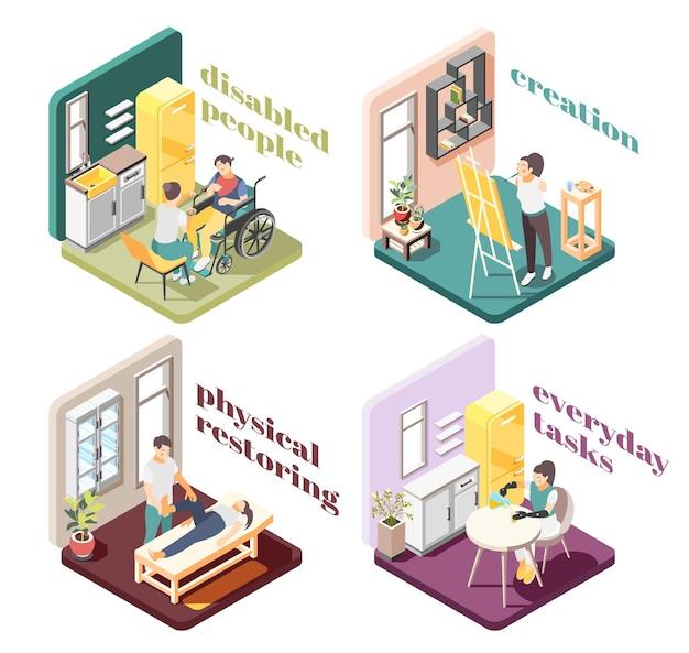 Osoby niepełnosprawne koncepcja projektowa 2x2 z fizycznym przywracaniem tworzenia codziennych zadań ilustracja kompozycji izometrycznych