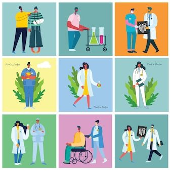 Osoby niepełnosprawne, młode osoby niepełnosprawne i przyjaciele pomagający. światowy dzień niepełnosprawności. płaskie postaci z kreskówek.