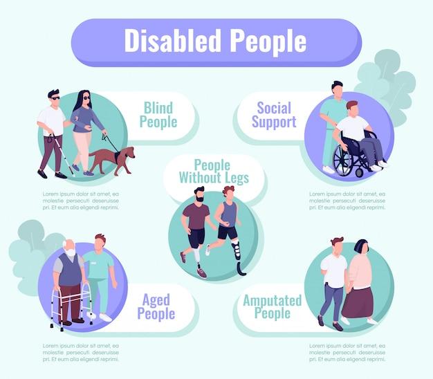 Osoby niepełnosprawne obsługują szablon informacyjny infografikę płaski kolor. plakat, broszura, koncepcja strony ppt z postaciami z kreskówek. ulotka reklamowa, ulotka, pomysł na baner informacyjny
