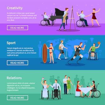 Osoby niepełnosprawne pełne życie informacji online płaskie poziome bannery ustawić stronę internetową streszczenie ilustracji wektorowych izolowane