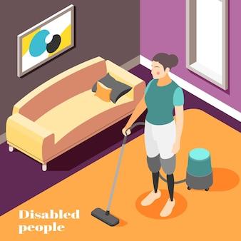 Osoby niepełnosprawne, prace domowe, skład izometryczny z kobietą noszącą protezy nogi, odkurzacz, ilustracja do domu