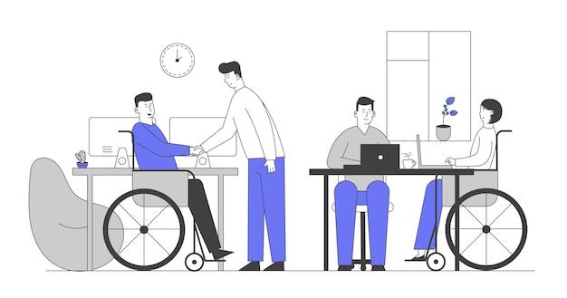 Osoby Niepełnosprawne Pracujące W Biurze Premium Wektorów