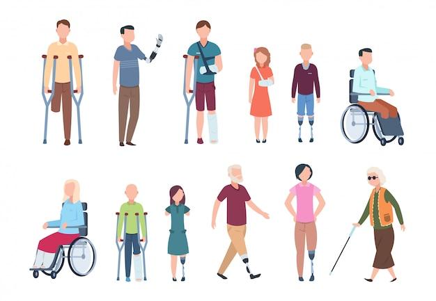 Osoby niepełnosprawne. różnych rannych osób na wózkach inwalidzkich, osób starszych, dorosłych i dzieci. zestaw znaków niepełnosprawnych