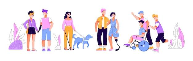 Osoby niepełnosprawne z przyjaciółmi kreskówka na białym tle zestaw mężczyzn i kobiet