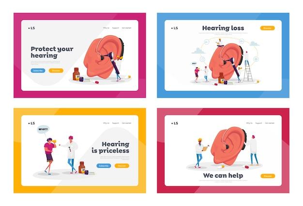 Osoby niesłyszące z problemami ze słuchem odwiedzające lekarza audiologa w celu leczenia uszu